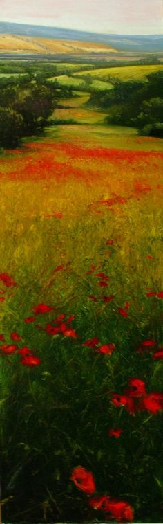 S..s David Dunlop tall rural landscape garnished with red kpz