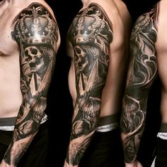 Skull King Arm Sleeve Tattoo by Nikko Hurtado : Tattoos