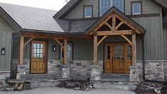 PineRidge Timberframe Gallery Cabin Exterior Colors, Rustic Houses Exterior, Mountain Home Exterior, Cottage Exterior, Modern Farmhouse Exterior, Craftsman Houses, Rustic Home Exteriors, Craftsman Interior, Siding Colors
