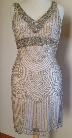 SUE WONG Art Deco Beaded Embellished Bridal Wedding Cocktail Evening Dress