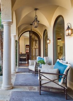 In this Mediterranean-inspired Villa, windows allow plenty of natural light into the interior. The house wraps around a courtyard and boasts a clean transitional style... --- Photography copyright by John Smith Photography Interior design by Pulliam Morris Interiors