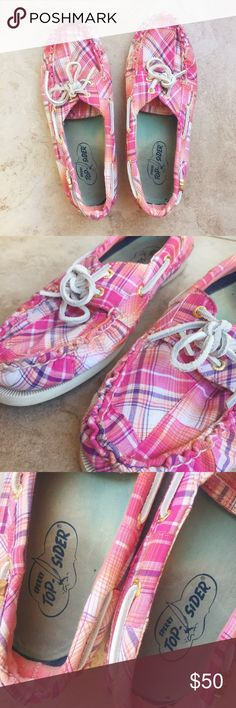 Sperry Top-Sider Pink Plaid Boat Shoes Size 9.5 these boat shoes are in good condition. i haven't actually worn them much, they have been in my closet! the bottoms are a little dirty and so are the insides, but not noticeable while they are on. you can either wear barefoot or with a sock that is low cut, self preference. get into the spring/summer mood with these gorgeous boat shoes!  i don't trade, feel free to make me an offer 🙂 Sperry Top-Sider Shoes Flats & Loafers