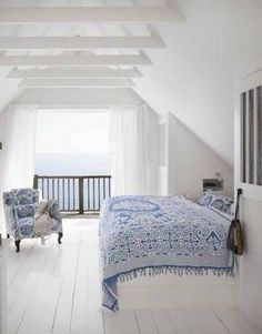 white attic bedroom-Simplistically beautiful   [ Barndoorhardware.com ] #bedroom #hardware #slidingdoor