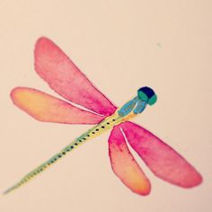 Libelulas Dragonfly Quotes, Dragonfly Art, Dragonfly Tattoo, Dragonfly Drawing, Dragonfly Painting, Watercolor Animals, Watercolor Paintings, Watercolors, Fairy Paintings