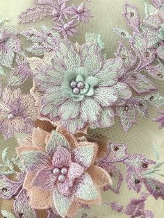 Items similar to Purple bead applique with flowers, champagne lace applique, tulle lace bodice, lace patch with handmade flowers on Etsy Herb Embroidery, Cushion Embroidery, Silk Ribbon Embroidery, Embroidery Applique, Embroidery Designs, Embroidered Roses, Embroidered Quilts, Flower Applique, Applique Patterns