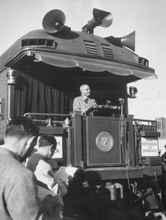 President Harry S. Truman Giving Speech During Whistle Stop Campaign