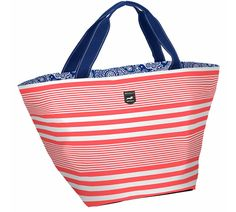Gameday Tote in Barbara Stripesand Coral- Score big with this stylish zip-top tote so you can 'bag' the competition on and off the field