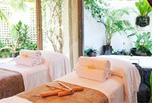 The Orchid Room A beautiful private room discreetly situated within the seclusion of our tranquil tropical gardens featuring a bath set in natural rock, water feature, an open air shower and a Balinese day bed
