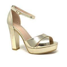 b2efe628864e92 Angkorly - Chaussure Mode Escarpin Sandale soirée Glamour Plateforme Femme  Lanières croisées métallique Talon Haut Bloc