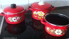 3 alte Emaille KOCHTÖPFE mit BLUMEN MOTIV gut erhalten emailliert Küche Kochen