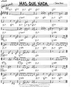 Mas-que-nada-score-guitar Sheet Music Pdf, Lead Sheet, Music Score, Scores, Musicals, Guitar, Piano Jazz, Video, Studios