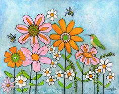"""Acrylic Original Painting Hummingbird Flowers Honey Bee Wall Decor Canvas Wall Art $350.00 USD This is an original painting with 3/4"""" edges ready to hang as is or frame it to match your decor.  -""""Hummingbird & Honey Bees"""" - 16X20"""" - Acrylic on Stretched Canvas - by Blenda Tyvoll  This is an original canvas painting signed on front and back. by blendastudio"""