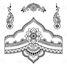 royalty-free henna tattoo flower templatemehndi stock vector art & more images of paisley pattern Stencils Tatuagem, Henna Tattoo Stencils, Tattoo Henna, Hand Tattoo, Henna Tattoo Designs, Henna Art, Dotwork Tattoo Mandala, Henna Mandala, Mandala Tattoo Design