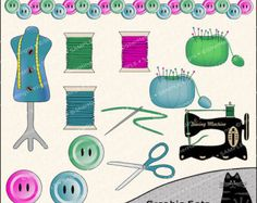 The Sewing Room Clipart and Graphic Set, Sewing Clipart, Crafting ...