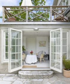 Charismatic Slope of the terrace. The greenhouse with an exquisite patio each above and out of doors the doorways. – – # out of doors kitchen Balustrades, Bedroom Balcony, Marquise, House Extensions, Stone Houses, Patio Doors, Entry Doors, Shabby Chic Homes, Outdoor Rooms