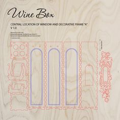 Wooden wine box with window and decorative frame. Laser cut proect plan. ► http://cartonus.com/wine-box/