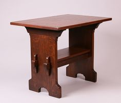 """Early Gustav Stickley """"Bungalow"""" trestle table. Signed with early red decal c1901-1902. Refinished. 36″w x 23.5″d x 28″h"""