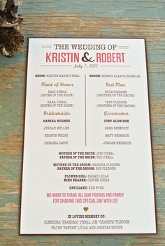 Simple and super cute wedding program!
