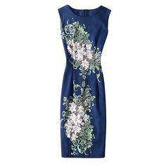 Vintage dress Fashion Casual sleeveless summer dress Elegant Printed Sheath party dress plus size women clothing vestidos