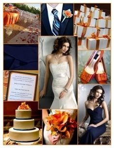 Navy and orange wedding ideas