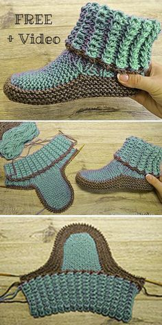 Knitting Socks, Knitting Stitches, Knitting Patterns Free, Knit Patterns, Free Knitting, Beginner Knitting Projects, Knitting For Beginners, Sewing Projects, Crochet Shoes