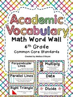 This bright colored, eye catching Common Core 4th grade Math Word Wall set includes 99 fourth grade math Common Core academic vocabulary word wall cards!! Great value! Cards contain words, definitions, and visuals. #wildaboutfifthgrade $