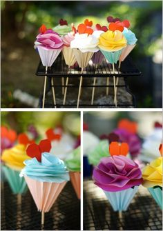 Origami cakes - so cute for a baby shower.