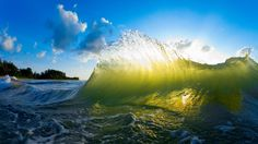 Pounders Beach Wave in Golden Light, Hawaii