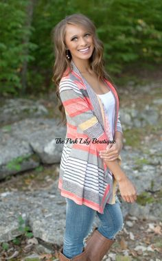 The Pink Lily Boutique - A Change In Seasons Cardigan Coral, $32.00 (http://thepinklilyboutique.com/a-change-in-seasons-cardigan-coral/)