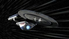 Excelsior-class starship, USS Excelsior, in warp flight.