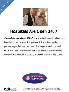 Tip #32 of 70 Tips for Caregivers  http://www.caregiverpartnership.com/