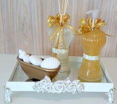 Kit para Banheiro/Lavabo Soap Packaging, Liquid Soap, Ideas Para, Bathroom, Vanity, Crafts, Contemporary, Rose, Design