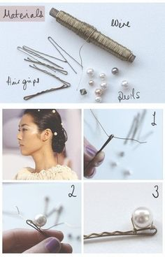 How to make a pearl hair pin. Pearl Hair Pins - Step 1 - How to make a pearl hair pin. Pearl Hair Pins - Step 1 How to make a pearl hair pin. Hair Accessories For Women, Diy Accessories, Chanel Pearls, Chanel Chanel, Pearl Hair Pins, Hair Beads, Diy Schmuck, How To Make Hair, Hair Jewelry