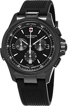 Victorinox Swiss Army Night Vision Black Face Chronograph Date Black Rubber  Strap Mens Swiss Watch 241731 64bcc27852b