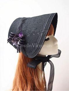 Vintage Black Straw Victorian Mourning Bonnet with Flower   #bonnet  #victorian