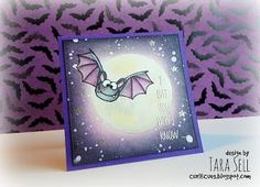 If you like to create Halloween cards that are rather cute than scary, you'll love this Stamp Set. It includes three bats in different positions, also two background bats for scenes and a very cute sp