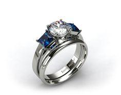 18k White Gold Three Stone Princess Shaped Blue Sapphire Engagement Ring