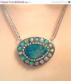 SALE Rainbow fire  Opals sterling silver by YaronaJewelryDesign, $389.00