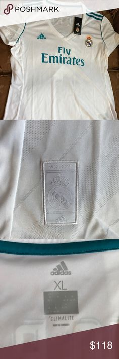 2017-2018 Real Madrid Jersey/women XL/Sergio Ramos 2017-2018 Real Madrid Jersey/women XL/Sergio Ramos/ 100% Authentic.. bought it from Real Madrid website, was too big, and have a receipt, original brand new with tags attached.. Adidas - Real Madrid Other
