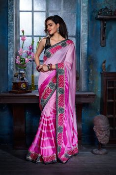 Ideal Pink and Black Lace Border Saree. Make personality more stylish with this Georgette saree. This saree will keep you comfortable all day long. This saree is quite comfortable to wear and easy to drape as well. This saree comes with matching unstitch Blouse. http://www.addsharesale.com/