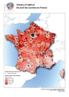 Carte de France des ouvriers