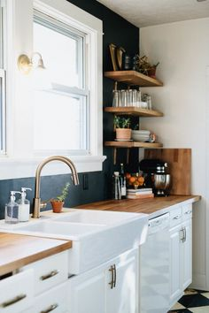 IKEA Karlby counters. DIY Black White and Gold Modern Kitchen with Open Shelves