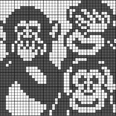 Speak no evil, see no evil, hear no evil monkeys Crochet Cross, Filet Crochet, Knitting For Kids, Double Knitting, Cross Stitch Embroidery, Cross Stitch Patterns, Pixel Crochet Blanket, Especie Animal, Graph Paper Art