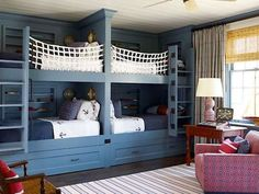 Nautical coastal boys bedrooms (15)-not sure my boys would ever go to sleep if all 4 were in this room.  Still fun though.