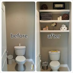 Diy Water Closet Bathroom Floating Shelves And Decorations Decorating Bathroom Shelves Decorating Bathroom Shelves Decorating Bathroom Shelves, Bathroom Storage, Small Bathroom, Bathroom Closet, Rental Bathroom, Downstairs Bathroom, Bathroom Wall, Bathroom Ideas, 1950s Bathroom
