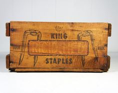 Vintage 1950s Wooden King Rigid Hed Cable Staples Crate.