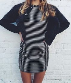 striped dress with a black blazer would be better