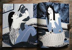 Karolin Schnoor - German illustrator 50's influenced, naive, flat illustrations