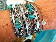 """Boho Chic Endless Leather Wrap Beaded Bracelet...Silver Fox with Turquoise... """"FREE SHIPPING""""    by LeatherDiva on Etsy, $45.00"""