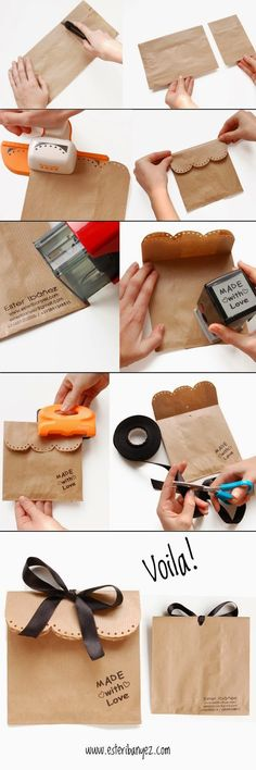 Simple but REALLY cute brown paper bag packaging - DIY Craft's - Mydiddl Diy Gifts Paper, Diy Paper Bag, Paper Gift Bags, Craft Gifts, Cookie Packaging, Paper Packaging, Gift Packaging, Packaging Ideas, Wedding Gift Wrapping